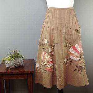 BCBGMaxAzria | boho patchwork beaded flare skirt